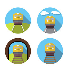 Set of train icon in flat vector