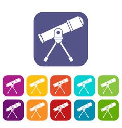 Space telescope icons set vector