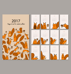 Squirrel calendar 2017 design vector