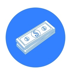 Stack of money icon in black style isolated on vector image