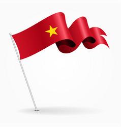 Vietnamese pin wavy flag vector