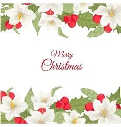 White Christmas rose holly berry mistletoe garland vector image vector image
