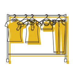 yellow watercolor silhouette of female clothes vector image