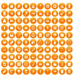 100 meal icons set orange vector