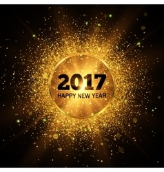 Happy new year 2017 gold glitter background vector
