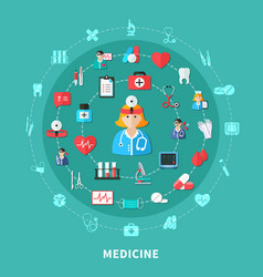 Medicine flat round composition vector