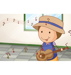 A boy playing with the guitar near the window vector