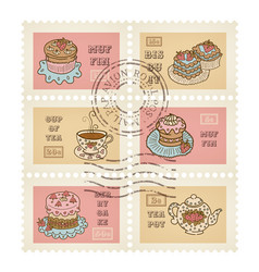 postage stamps retro pastry theme canceled vector image