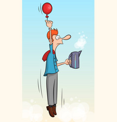 office worker flies into the sky with a balloon vector image