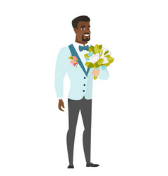 Young caucasian groom with a bridal bouquet vector