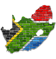 South africa map on a brick wall vector