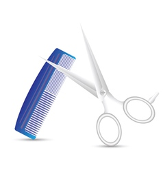 Barber scissors and comb vector