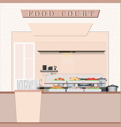 Food court with food in a shopping mall vector