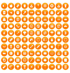 100 meal icons set orange vector