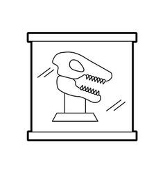 Museum dinosaur skeleton in urn glass vector