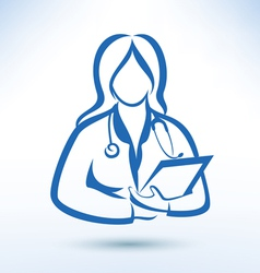 Nurse medical worker outlined silhouette vector