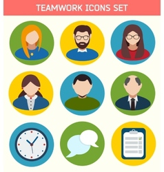 Flat business teamwork icons set vector