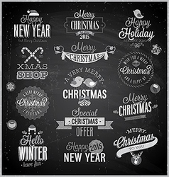 Xmas emblems chalk vector