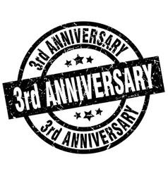 3rd anniversary round grunge black stamp vector