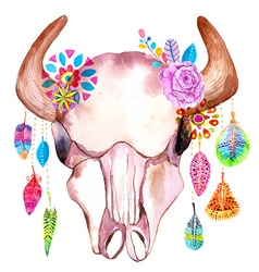 Watercolor bull skull with flowers and feathers vector