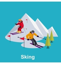 People skiing flat style design vector