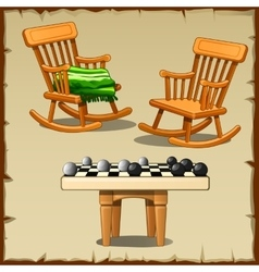 Two rocking chairs with checkers on wooden stools vector
