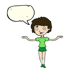 Cartoon woman spreading arms with speech bubble vector