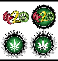 Marijuana leaf design stamps vector