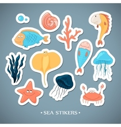 Stickers with marine life cartoon vector