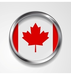 Abstract button with metallic frame canadian flag vector