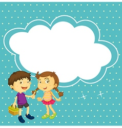 A girl and a boy with an empty callout vector image