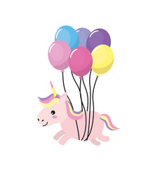 beauty unicorn with balloons decoration design vector image vector image