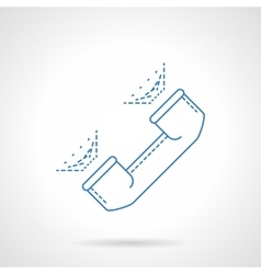 Blue flat line handset icon vector image vector image