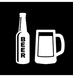Bottle and glass of beer icon Beer and pub bar vector image