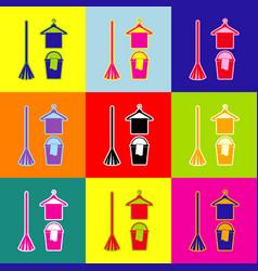 Broom bucket and hanger sign pop-art vector