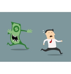 Businessman pursued by an evil dollar banknote vector image