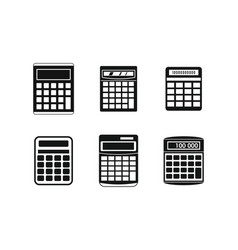 calculator icon set simple style vector image