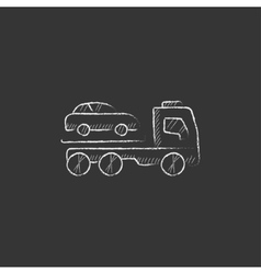 Car towing truck drawn in chalk icon vector