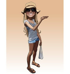 cartoon smiling girl in a summer clothes vector image vector image