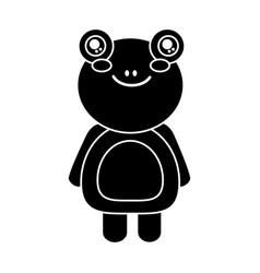 Cute animal frog standing cartoon wildlife vector