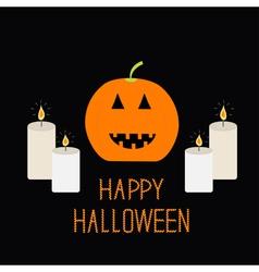Cute funny pumpkin candle light halloween card for vector