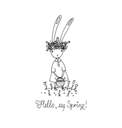 Easter bunny in a wreath vector image vector image