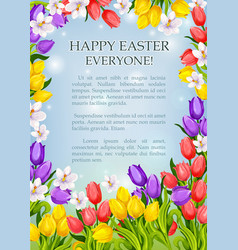 Easter flowers poster paschal greeting card vector