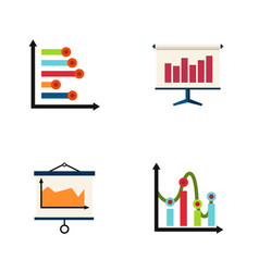 flat icon diagram set of graph infographic chart vector image vector image