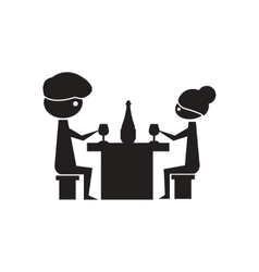 Flat icon in black and white couple dinner vector