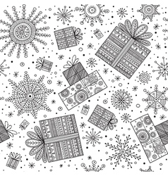 Gifts christmas seamless pattern with snowflakes vector