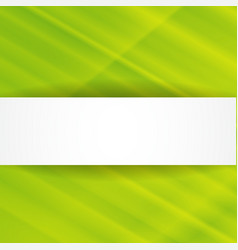 Green abstract background with white banner vector image vector image