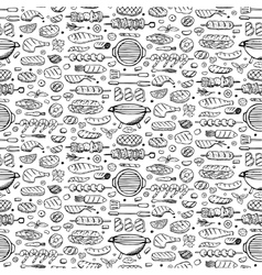 Grill-barbecue doodle set vector image