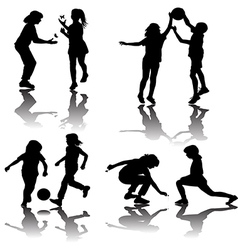 Group of playing children silhouettes vector image
