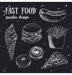 Hand drawn fastfood set creative vector